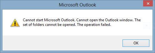 Cannot start Microsoft Outlook. Cannot open the Outlook window. The set of folders cannot be opened.