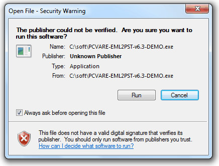 PCWARE file does not have a valid digital signature that verifies its publisher.